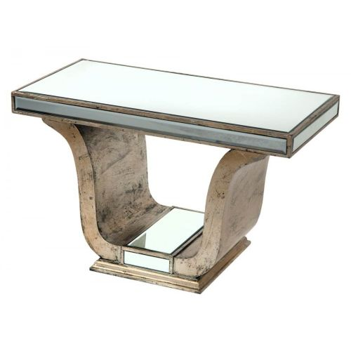 Vintage Venezia Antique Silver Mirrored Console Table